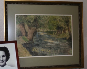 Signed and dated 1945, GORGEOUS watercolor painting of a shaded stream, beautifully matted & framed