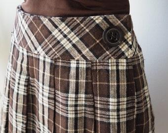 Brown tartan pleated A-line mini skirt S