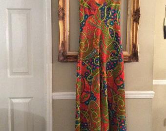 60's 70's Mod Psychedelic Flower Child Hippie Boho Maxi Dress