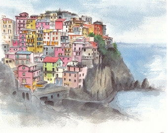 Italy painting. Liguria painting. Cinque Terra. Italy houses sketch. Colorful painting. Town. Italy Houses. Landscape. Original. 8x10