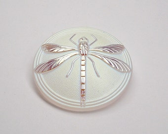 Czech Hand Made Art Glass Cabochon with Dragonfly, Crystal White Matte AB (BUT15076/18) size 18, 40.5mm 1pc