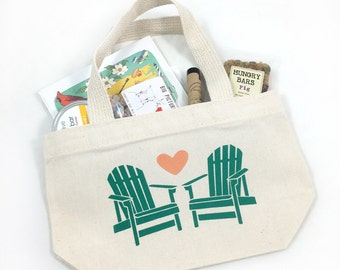 Set of 12 Adirondack Chairs Design Tote Bags For Wedding Guests, Custom Colors, Beach wedding tote bags