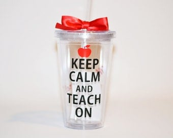 Teacher Gifts , Keep Calm and Teach On  - Teacher Gift - Custom - Personalize with Name