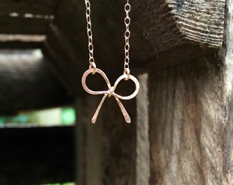Rose gold necklace with handmade bow charm and gold filled chain, rose gold bow necklace