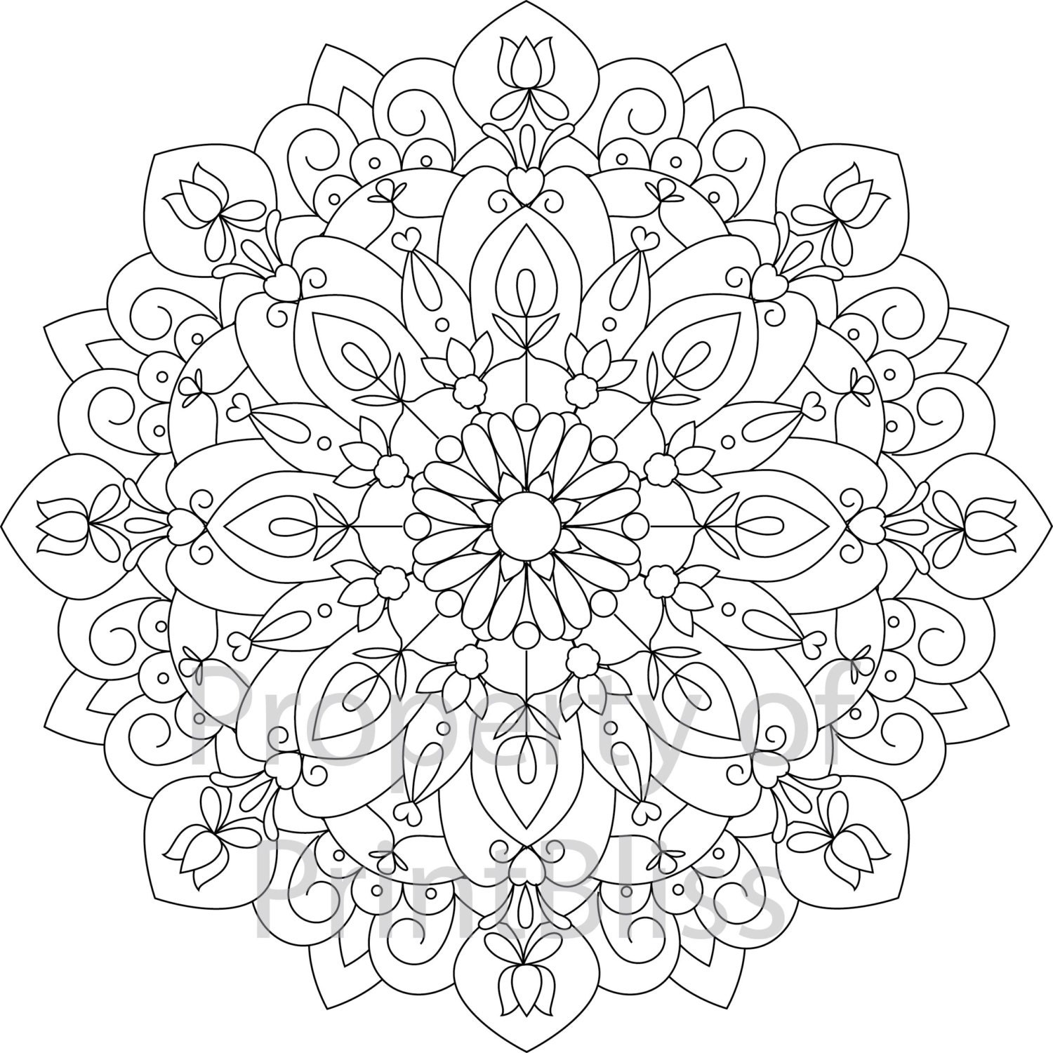 10 flower mandala printable coloring page by printbliss on etsy. Black Bedroom Furniture Sets. Home Design Ideas