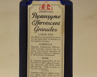 Vintage Medical Bottle R and C Digestant Peptenzyyme Effervescent Granules Bottle