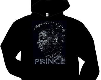 New Rhinestone Prince Portrait  Hoodie pullover black sweatshirt Free Shipping