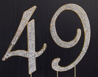 Rhinestone Gold  NUMBER (49) Cake Topper 49th Birthday Party Free Shipping Give It As Gift