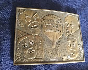 Gorgeous Vintage Bronze Circus Clown Belt Buckle