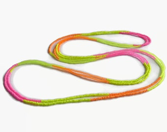 Seed bead necklace, neon, UV-active, layer necklace seed bead, beaded necklace, long necklace