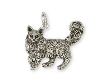 Maine Coon Charm Handmade Sterling Silver Cat Jewelry MN1-C