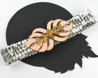 Pink Salmon & Gold Buckle on Silver Sequin Elastic Belt