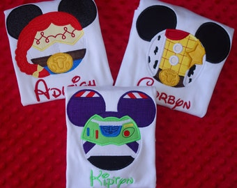 Toy Story Mouse Ears Appliqued Shirt-- Woody, Jessie, or Buzz-- Family Vacation Shirts