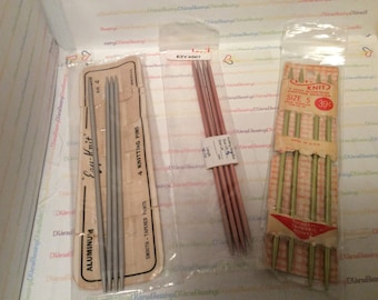 EZY KNIT, Double Pointed, Knitting Needles, 7 Inch, Very Vintage, Sets of 4, Original Package, Aluminum, Sizes 4 5