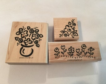 Stampin Up 3 Piece Flowers Wood Mounted Stamps S10