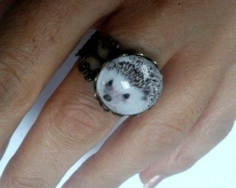 hedgehog ring kawaii cabochon forest animals charms