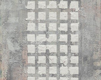 large grey squares feng shui print , metal, air, children and creativity, west, north west, FREE SHIPPING