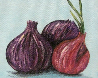 Mini Vegetable Painting - Red Onion - Acrylic Painting on 4x4 canvas