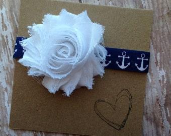 White and Navy Anchor Headband, Sailor, Baby Headband
