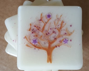 Cherry Tree Fused Glass Coasters (x4)