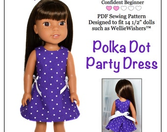Pixie Faire Love U Bunches Polka Dot Party Dress Doll Clothes Pattern for 14.5 Inch Dolls Such As WellieWishers Dolls  - PDF