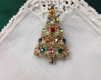 Book Piece, Pakula Christmas Tree Pin Brooch, Fruit Salad, Gold Tone