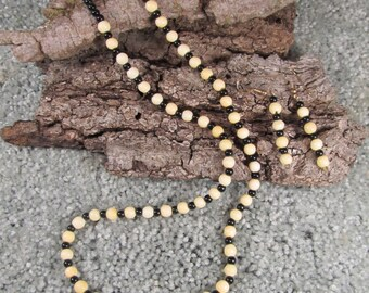 Black and White bead necklace, with earrings. Bone and Black Onxy (new)