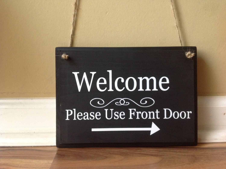 🔎zoom & Welcome Please Use front door wooden sign Door decor hanging Pezcame.Com