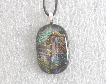 Dichroic Glass Necklace, Dichroic Glass Pendant,  Dichroic Fused Glass Necklace, Glass Necklace, Dichroic Glass, Fused Glass,  D130