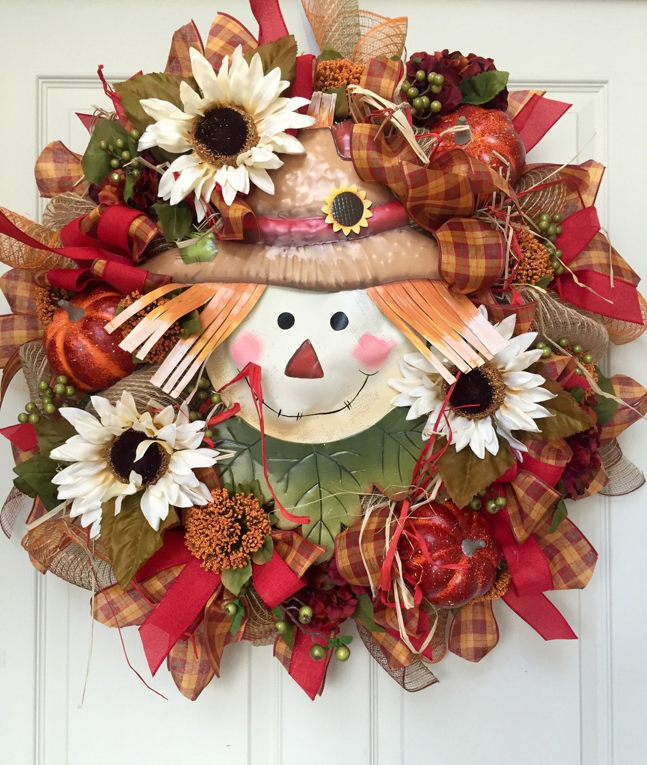 Sale Fall Harvest Mesh Burlap Wreath