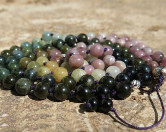 Last one - Multi-coloured Tourmaline 8mm mala, 108 beads. Hand knotted Transformation, Love, Protection. Burgundy Thread, Adjustable