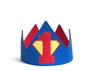 Superman Crown - Super Hero Birthday - First Birthday Crown - First Birthday Hat