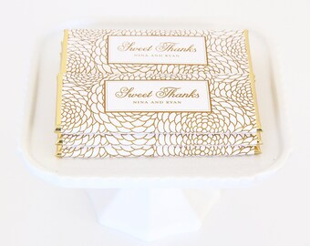 Floral Personalized Candy Bar Wrapper. Choice of Gold, Silver, Gold Copper, Copper or Black Foil included.
