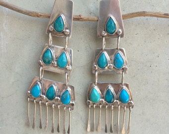 Beautiful antique navajo clip on turquoise and sterling chandelier earrings