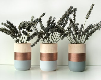 Wooden Vases - Set of 3 - Home Decor - Copper