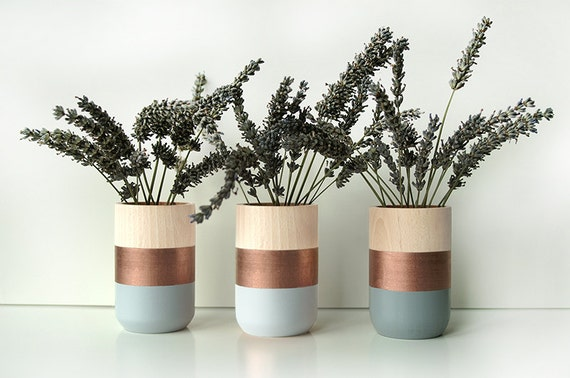 Wooden Vases Home Decor Set of 3 Copper perfect t