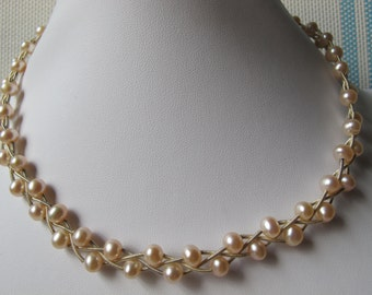 5-6mm Champagne Potato Freshwater Pearl 925 Sterling Silver Necklace A204