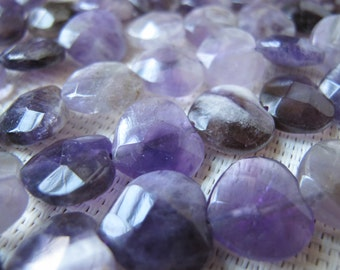 14mm Amethyst Faceted Heart Bead S125