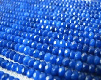 3x4mm Dyed Jade Lapis Blue Faceted Rondelle Bead S187