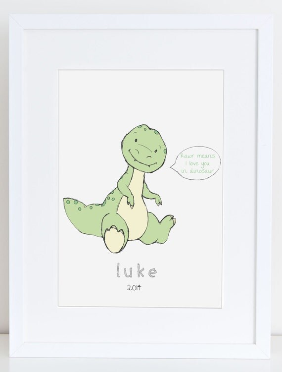Items similar to nursery art dinosaur illustration baby for T rex bedroom decor