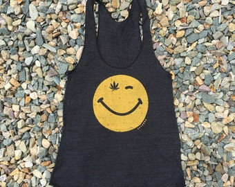 Tri-black Ladies' Racerback Tank Top Smiley Face Weed - USA MADE - American Apparel extra small
