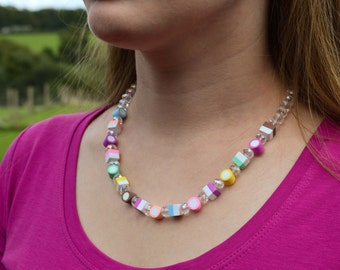 Crystal Dolly Mixtures Necklace Polymer Clay Sweets 19""