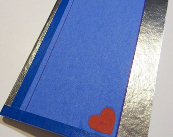 Simple Series Notebook - Decorated Paperback - Blue & Silver with Heart