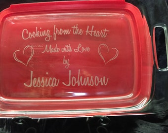 Personalized Pyrex Casserole Dish with Lid