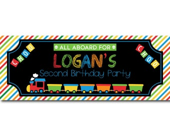 Choo Choo Train Personalized Birthday Banner