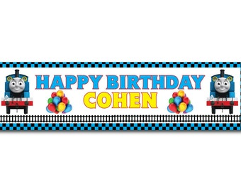 Thomas The Tank Engine Train Personalized Birthday Banner