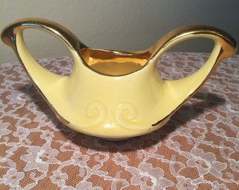 1940 Pearl China Co. Yellow 22K Gold Trim Replacement Sugar Bowl