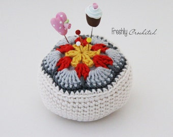African flower pincushion, crocheted, MADE TO ORDER