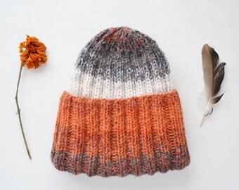 Orange Grey White Hat with Lurex
