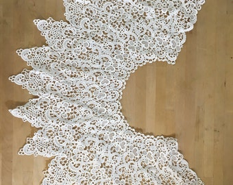 White Lace Collars Venice Lace for Bridal, Straps, Lolita, Sweaters, Lace Necklaces, Costumes